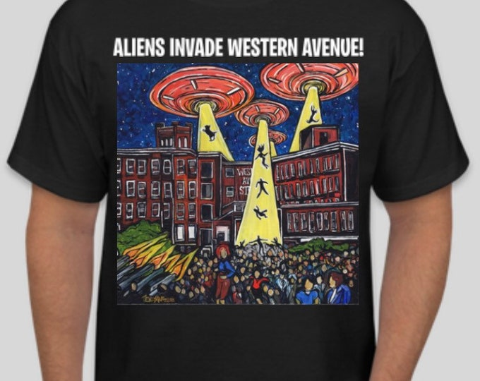 Aliens Invade Western Avenue Lowell MA T-Shirt featuring artwork by Tracy Levesque