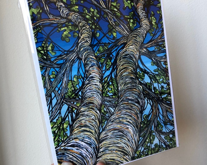 "5x7"" Birch Trees greeting card with envelope in archival sleeve by Tracy Levesque"