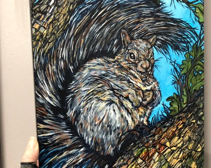 "11x14"" Original acrylic painting of a Squirel by Tracy Levesque"