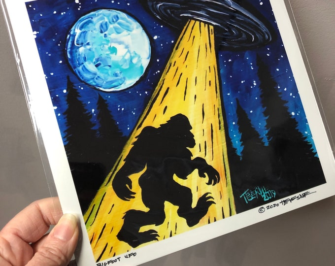 "Bigfoot Sasquatch UFO 8x8"" metallic photographic print by Tracy Levesque"