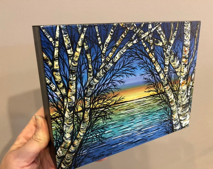 """6x8"""" Dawn Birch View Original acrylic painting by Tracy Levesque"""