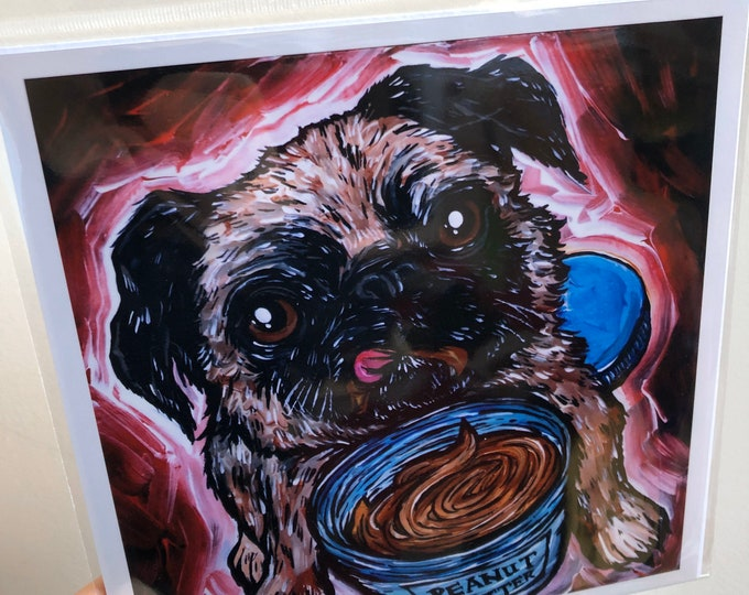"8x8"" Peanut Butter Pug metallic photographic print featuring artwork by Tracy Levesque"