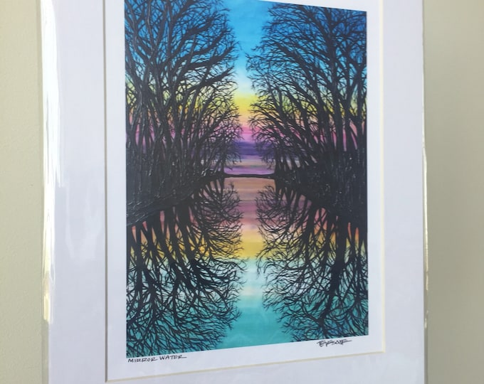 """11x14"""" Matted Giclee Print of Mirror Water by Tracy Levesque"""