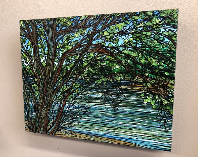 Walden Pond, original acrylic painting by Tracy Levesque
