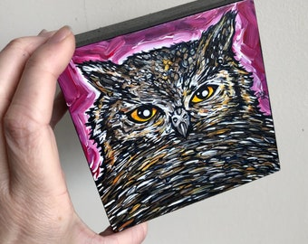 """4x4"""" Urbane Owl wise horned owl original acrylic painting by Tracy Levesque"""