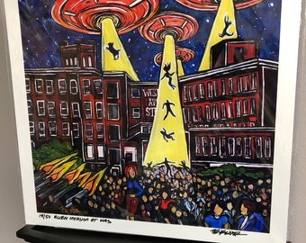 """Alien Invasion of Western Avenue Limited Edition Metallic Print 12x12"""" in Archival Sleeve bu Tracy Levesque"""