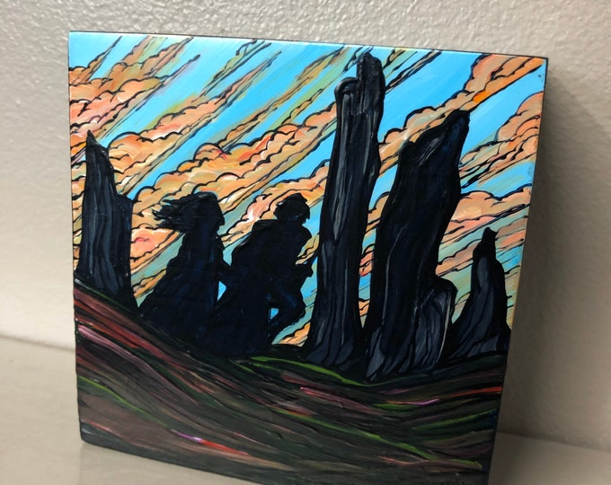 """4x4"""" Outlander Craigh Na Dun Jamie and Claire original acrylic mini painting by Tracy Levesque"""