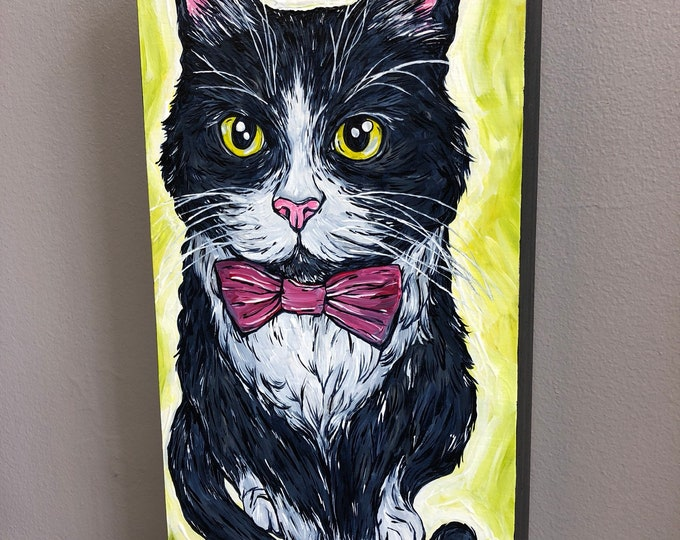 "Cat Bond, original 6x12"" acrylic painting by Tracy Levesque"