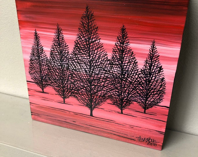 "6x6"" Pink Winter Trees original painting by Tracy Levesque"