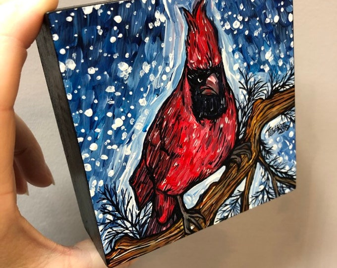 "Snow Cardinal 4x4"" original acrylic painting by Tracy Levesque"