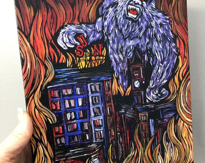 """Monster Gorilla Attacks Lowell SUN Building Lowell Monster 8x10"""" original acrylic painting by Tracy Levesque"""