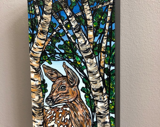 Deer Birches, original acrylic painting by Tracy Levesque