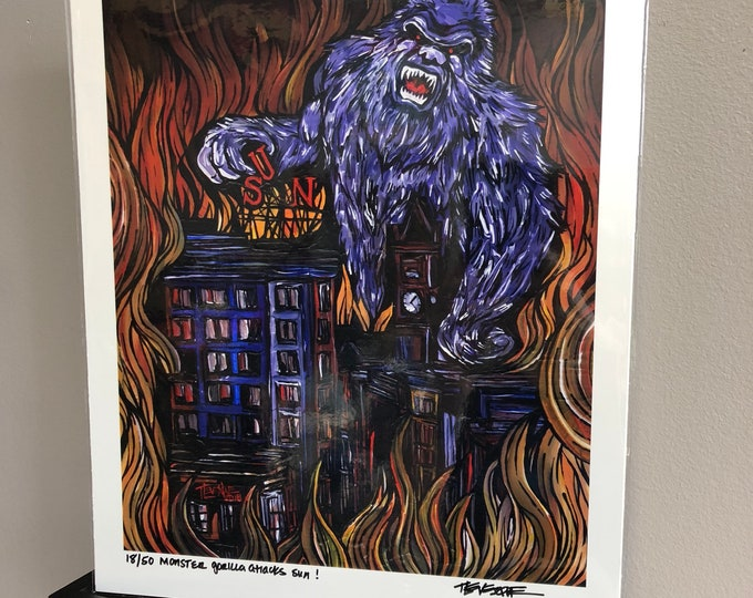 "Monster Gorilla Attacks Lowell Sun 11x14"" Limited Edition Print by Tracy Levesque"