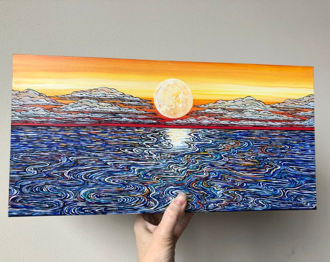 "Featured listing image: 8x16"" Infinite Waves Gorgeous Seascape Sunrise Sunset original acrylic painting by Tracy Levesque"