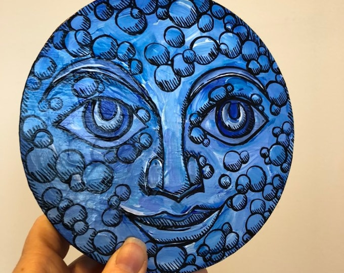 "Buddha Blue Moon 6"" Round Original Acrylic Painting by Tracy Levesque"