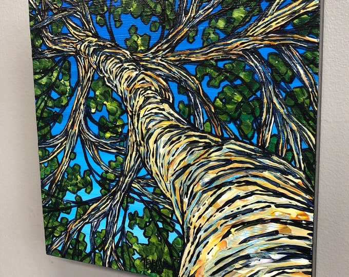 Summer Birch Tree, original acrylic painting by Tracy Levesque