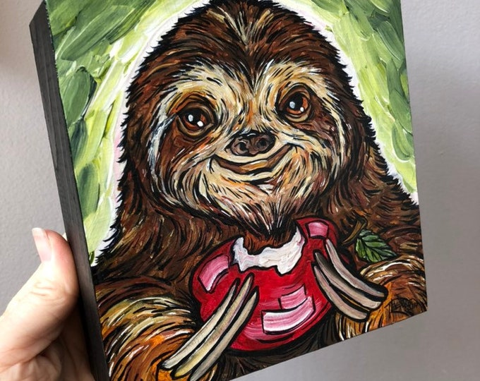 """6x6"""" Sloth E. Appleseed original acrylic painting on wood by Tracy Levesque"""