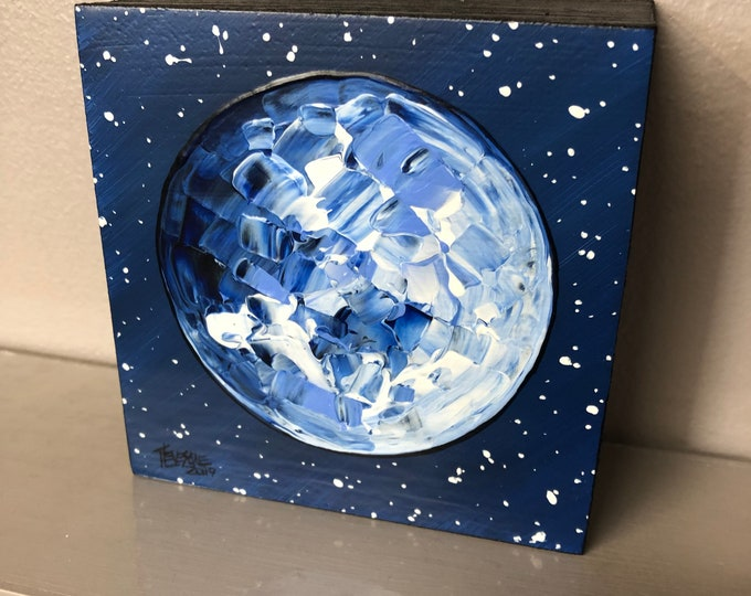 "Full Moon Starry Sky 4x4"" original acrylic painting by Tracy Levesque"