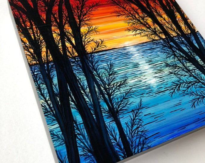 "Sunset of Primaries 10x10"" Original Acrylic Painting by Tracy Levesque"