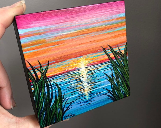 "4x4"" One of a kind Cape Cod Sunrise by Tracy Levesque"