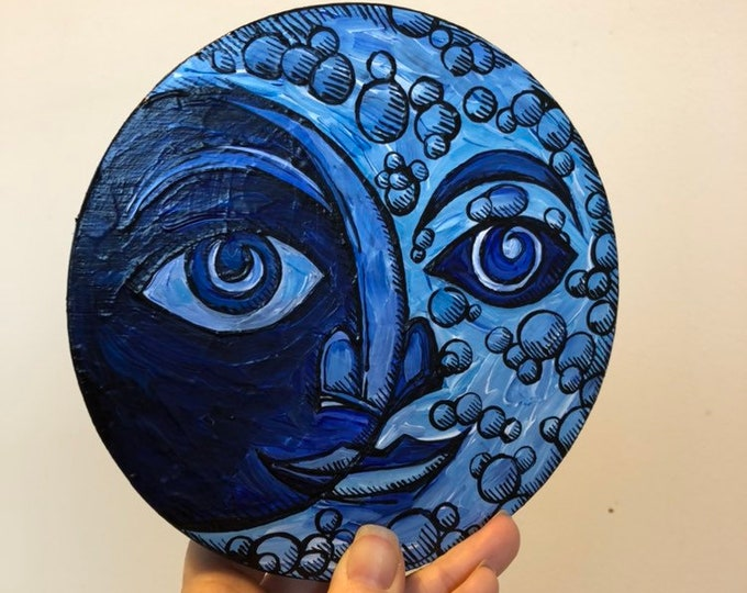 "Buddha Crescent Moon 6"" Round Original Acrylic Painting by Tracy Levesque"