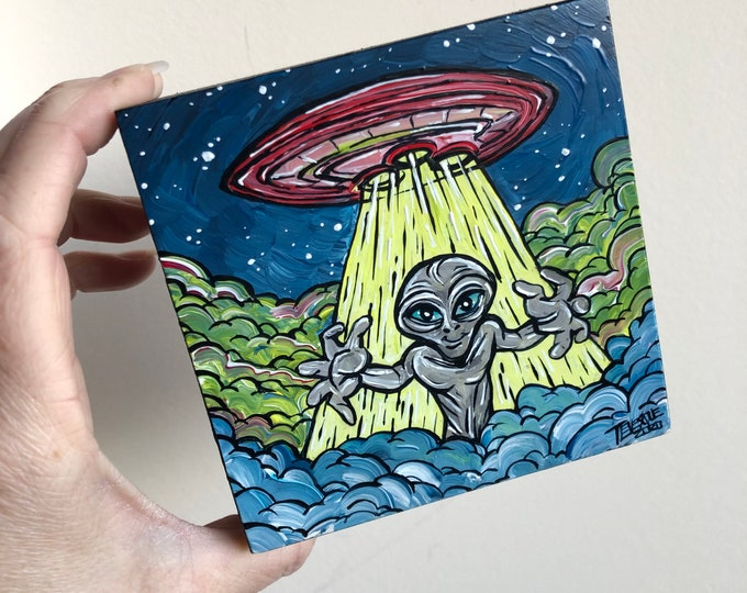 "4x4"" UFO Grey Alien acrylic painting by Tracy Levesque"