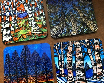 4 Seasons Coaster Set of 4 featuring  Artwork by Tracy Levesque
