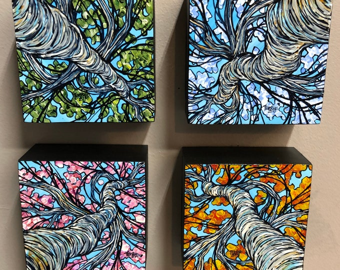 Trees of the 4 Seasons mini painting collection by Tracy Levesque
