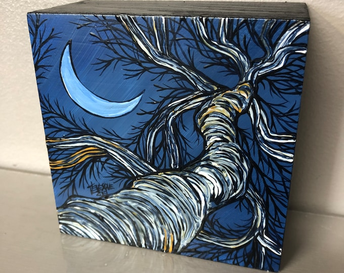 "Crescent moon tree 4x4"" original acrylic painting by Tracy Levesque"