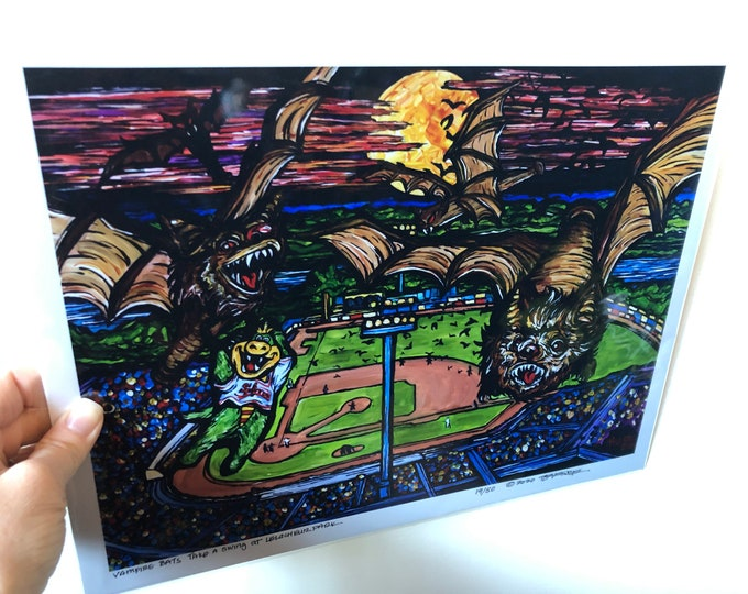 "11x14"" Limited Edition Print of Vampire Bats Take a Swing at LeLacheur Park, Lowell, MA by Tracy Lévesque"