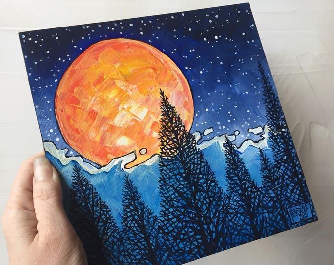 Cloud Cover Moon Original Painting