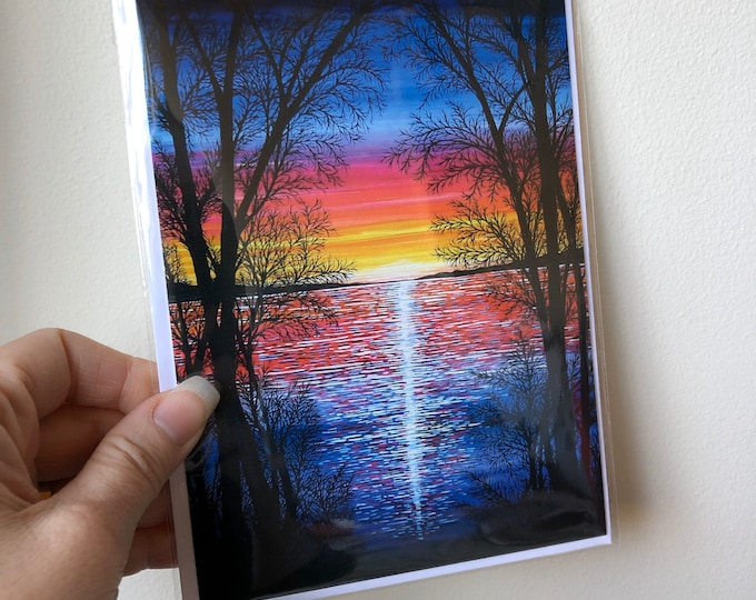 "5x7"" Chromatic Sunset greeting card in archival sleeve featuring artwork by Tracy Levesque"