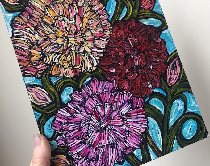 Carnations Botanical Painting