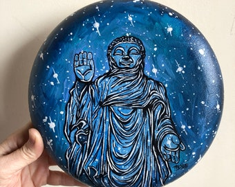 "Blue Bliss Buddha original acrylic painting on 8"" Round Convex Canvas by Tracy Lévesque"