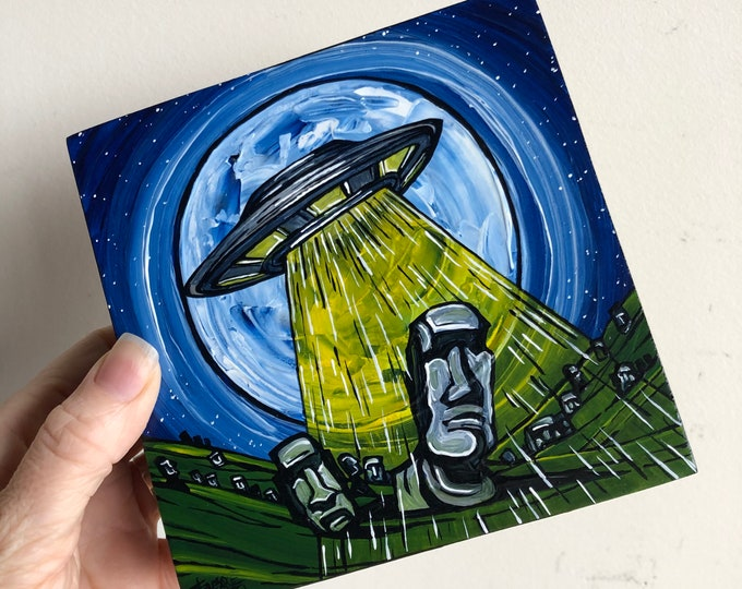 """5x5"""" Easter Island UFO Alien Flying Saucer original acrylic painting by Tracy Levesque"""