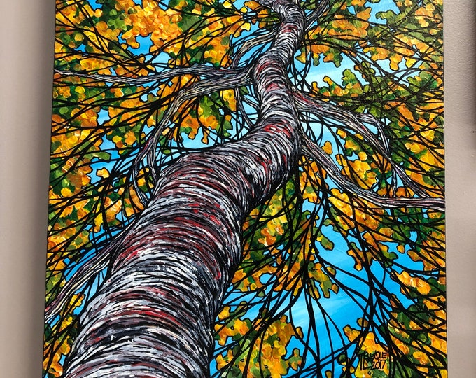 "Blossoming Autumn Birch Tree, 18x24"" Original Acrylic Painting by Tracy Levesque"