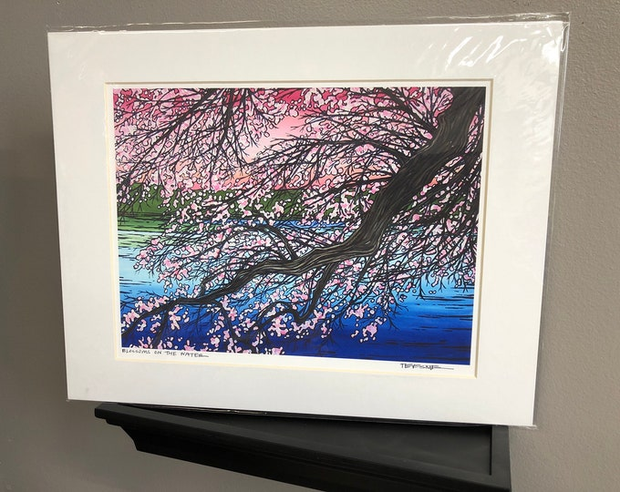 "11x14"" Matted Giclee Print of Cherry Blossoms by Tracy Levesque"