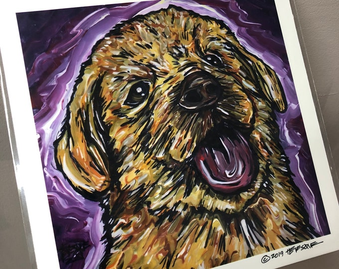 """Golden Pup 8x8"""" metallic photographic print by Tracy Levesque"""