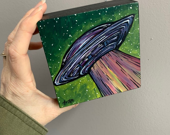 "4x4"" UFO Flying Saucer original acrylic painting by Tracy Levesque"