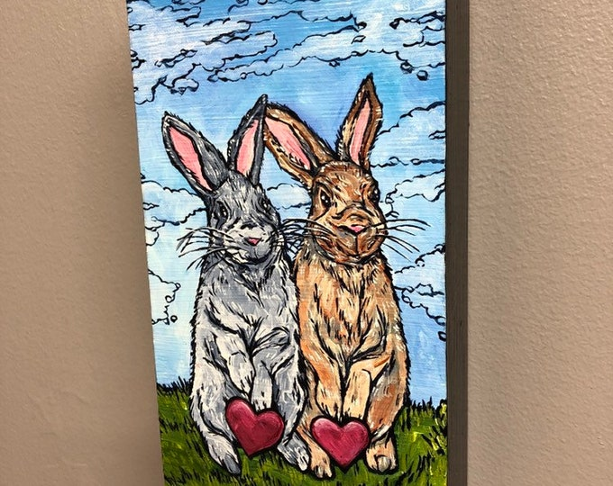 """Love Bunnies 4x8"""" Original acrylic painting by Tracy Levesque"""