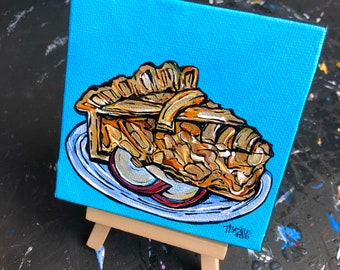 "4x4"" Apple Pie mini painting on easel by Tracy Levesque"