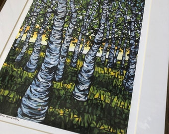 """Warm Summer Birches 11x14"""" matted giclee print by Tracy Levesque (print size is approximately 8x10"""" inside 11x14"""" mat)"""