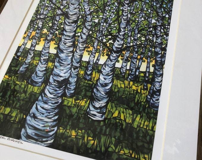 "Warm Summer Birches 11x14"" matted giclee print by Tracy Levesque (print size is approximately 8x10"" inside 11x14"" mat)"