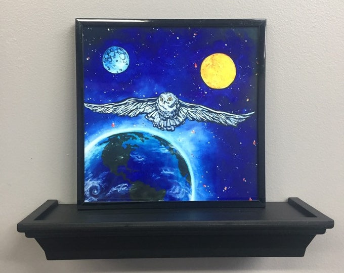 "Space Owl 8x8"" framed print on aluminum by Tracy Levesque"
