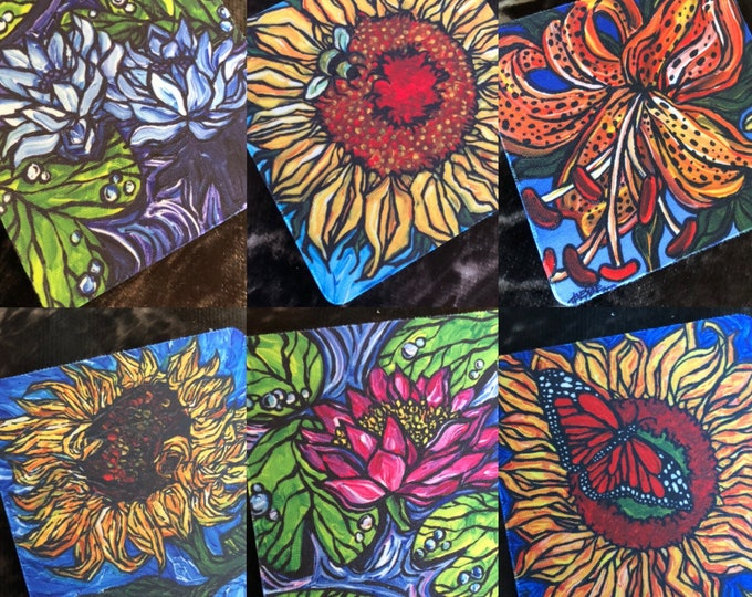 """Flower Coasters Sold Separately - Flexible Fabric  - Perfect for Summer Drinks - 3.5"""" Square Coasters featuring artwork by Tracy Levesque"""