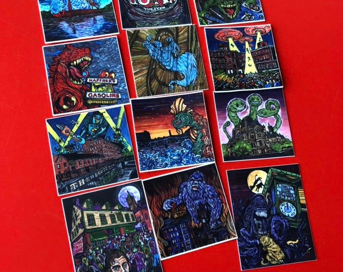 Complete Set of 12 Stickers featuring the Mill City Monster Series by Tracy Levesque - Each sticker is 2x2""