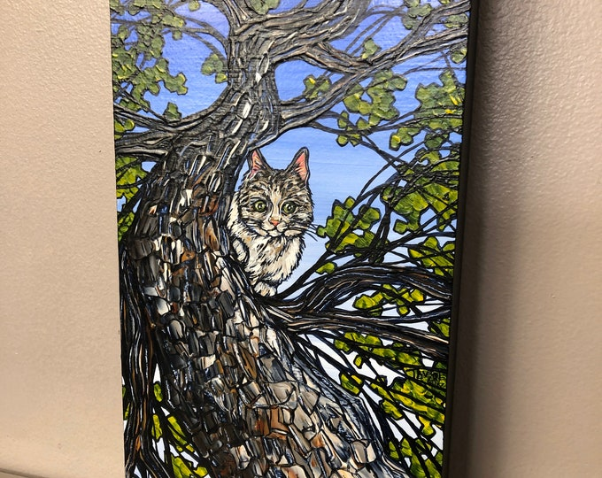 "6x12"" Tabby Tree Cat original acrylic painting by Tracy Levesque"