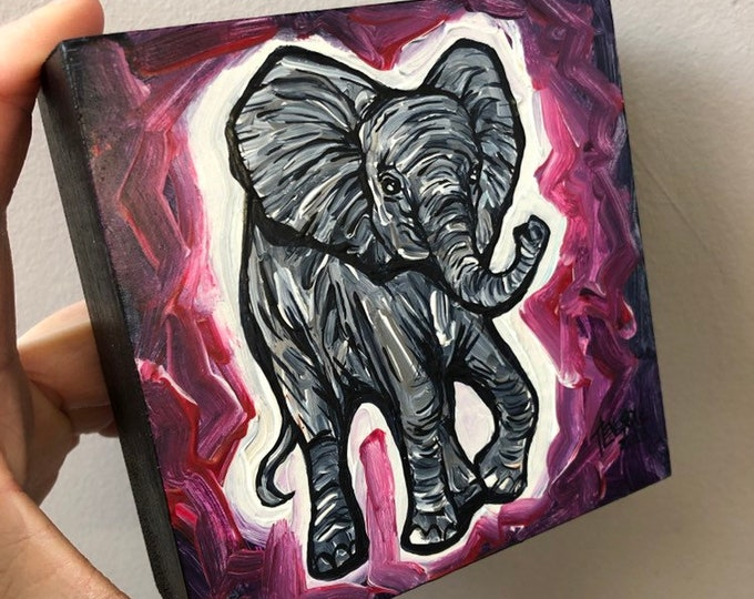 "4x4"" Baby Elephant Original Acrylic Painting by Tracy Levesque"