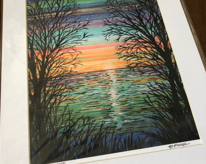 """Sunrise 11x14"""" Matted Giclee Print by Tracy Levesque (print size is approximately 8x10"""" inside 11x14"""" mat)"""