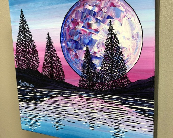 """Mystic Moon 8x8"""" original acrylic painting by Tracy Levesque"""